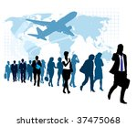 People are walking, flying airplane and world map in the background. The base map is from Central Intelligence Agency Web site. - stock vector