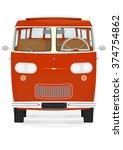 front view of retro cartoon van ... | Shutterstock .eps vector #374754862