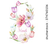 watercolor wreath march 8  the... | Shutterstock . vector #374760106