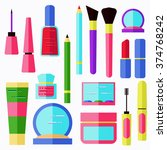 flat cosmetics collection  lip... | Shutterstock .eps vector #374768242