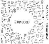 hand drawn doodle kitchen... | Shutterstock .eps vector #374772142