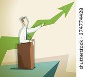a businessman stands behind a... | Shutterstock .eps vector #374774428