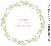 hand drawn wreath with flowers... | Shutterstock .eps vector #374774542