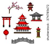 japan travel and culture icons... | Shutterstock .eps vector #374785672
