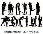 vector silhouette couple man... | Shutterstock .eps vector #374791516