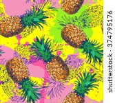 seamless pattern with pineapple ... | Shutterstock .eps vector #374795176