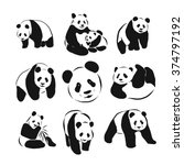 set of vector panda silhouettes | Shutterstock .eps vector #374797192