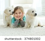 The Child With The Dog Lying O...
