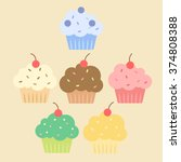 simple colorful cupcakes set.... | Shutterstock .eps vector #374808388