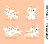 Stock vector cute orange cats vector illustration set of kitten cat character with different pose and activity 374808808
