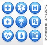 health care and medical symbols ... | Shutterstock .eps vector #374820742