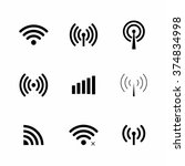 set of vector wi fi and... | Shutterstock .eps vector #374834998
