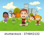 children playing basketball ... | Shutterstock .eps vector #374842132