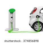 Stock photo electric car in charging station 374856898