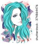 sad girl with blue hair. vector ... | Shutterstock .eps vector #374864476