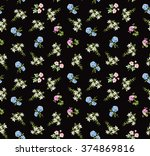 Floral Black Seamless Pattern ...