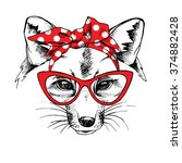 fox portrait in a red headband... | Shutterstock .eps vector #374882428