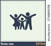 happy family icon in simple... | Shutterstock .eps vector #374889058