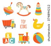 Kids First Toys Icon Set. Baby...
