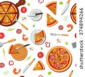 pizza seamless pattern with... | Shutterstock .eps vector #374894266