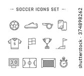 soccer line icons set design.... | Shutterstock .eps vector #374898262