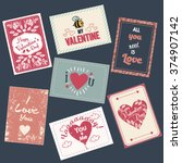 valentine s day set of cards.... | Shutterstock .eps vector #374907142