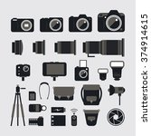 camera  photography flat icons... | Shutterstock .eps vector #374914615