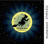 halloween card with witch   Shutterstock .eps vector #37491511
