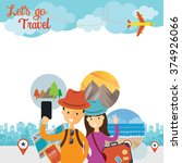 tourist  traveler selfie with... | Shutterstock .eps vector #374926066