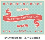 valentines day vector icons ... | Shutterstock .eps vector #374935885