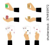 hand with playing cards and... | Shutterstock .eps vector #374935972