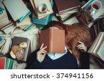 Girl Sleeping Near  Books With...