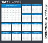 2017 planner   illustration... | Shutterstock .eps vector #374945812