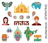 set of indian flat icons ... | Shutterstock .eps vector #374947942