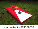 cornhole toss game board with... | Shutterstock . vector #374958052