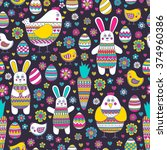 seamless easter pattern with... | Shutterstock .eps vector #374960386