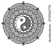 vector henna tatoo mandala. yin ... | Shutterstock .eps vector #374963776