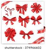set of red polka dot gift bows... | Shutterstock .eps vector #374966602