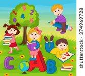 children on the grass reading a ... | Shutterstock .eps vector #374969728