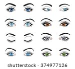 set of female eyes and brows... | Shutterstock .eps vector #374977126