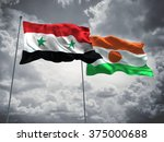 syria   niger flags are waving... | Shutterstock . vector #375000688