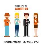 smartphone addiction design  | Shutterstock .eps vector #375013192