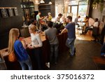 people waiting at a coffee shop ... | Shutterstock . vector #375016372