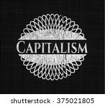 capitalism with chalkboard... | Shutterstock .eps vector #375021805