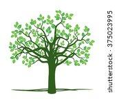 green spring tree. vector... | Shutterstock .eps vector #375023995