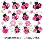 ladybugs in the garden  pink  | Shutterstock .eps vector #375029956