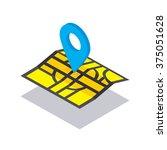 isometric vector navigation map ... | Shutterstock .eps vector #375051628