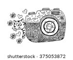 retro photo camera with cute... | Shutterstock .eps vector #375053872