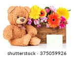 colorful flowers in the box and ... | Shutterstock . vector #375059926