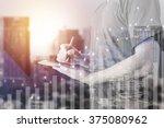 double exposure of businessman...   Shutterstock . vector #375080962